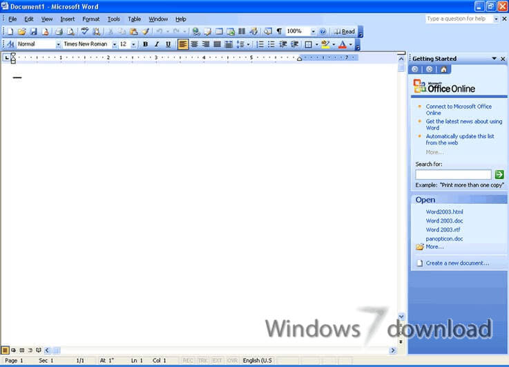 Microsoft Office 2003 for Windows 7 - Word 2003, Excel 2003