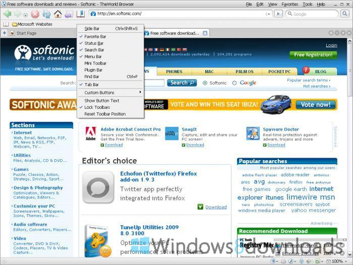 TheWorld Browser - Windows 8 Downloads