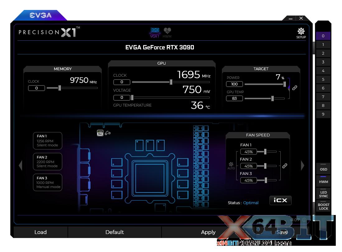 EVGA Precision X1 screenshot