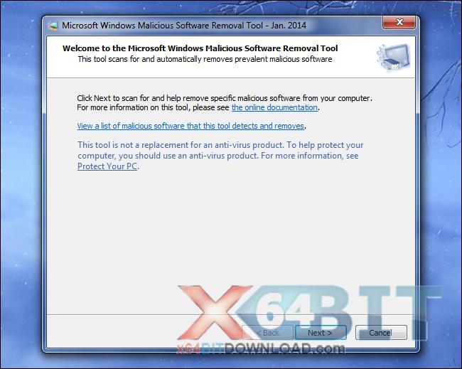 Windows Malicious Software Removal Tool - 64 bit screenshot