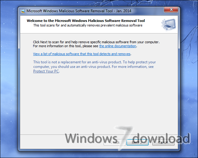 Full Windows Malicious Software Removal Tool - 64 bit screenshot