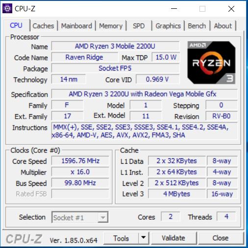 AMD Ryzen 3 2200U