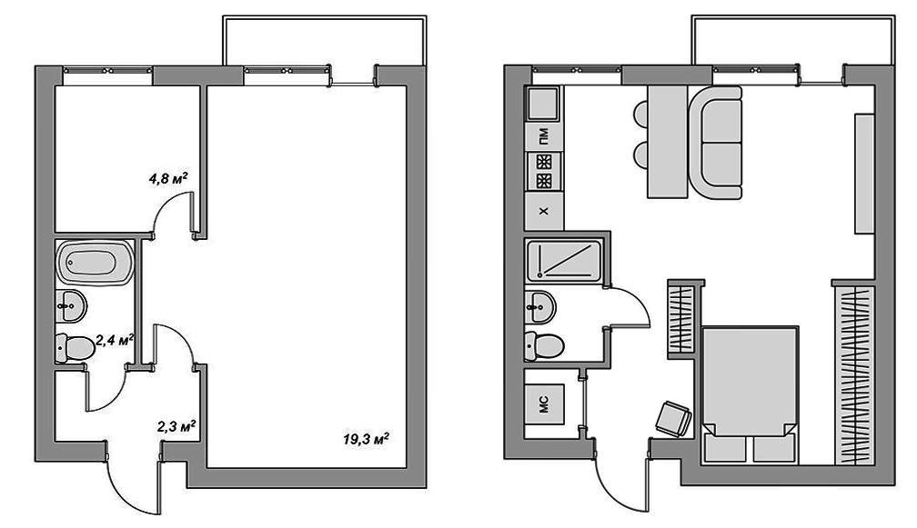 Пути перепланировки однокомнатной квартиры в двухкомнатную