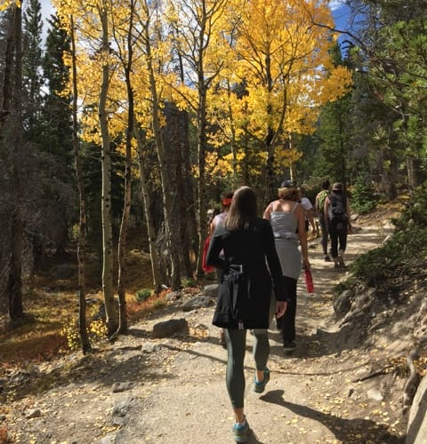 womens recovery hike in the mountains