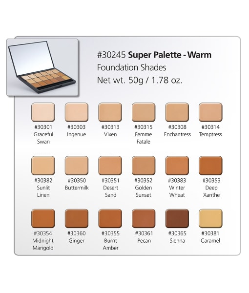 HD Creme Warm Super Palette Chart