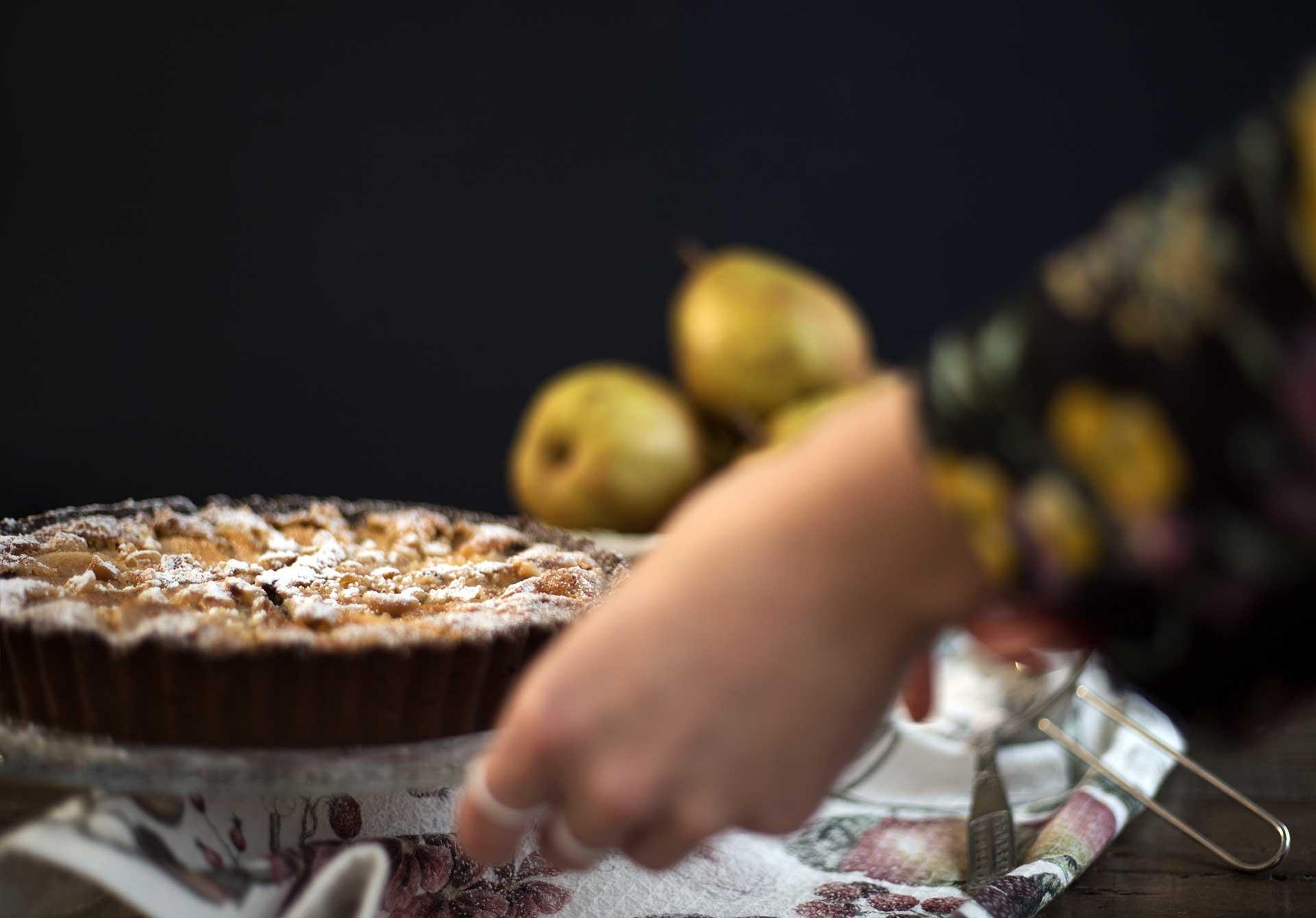 Schokoladen-Birnen-Tarte-Detail