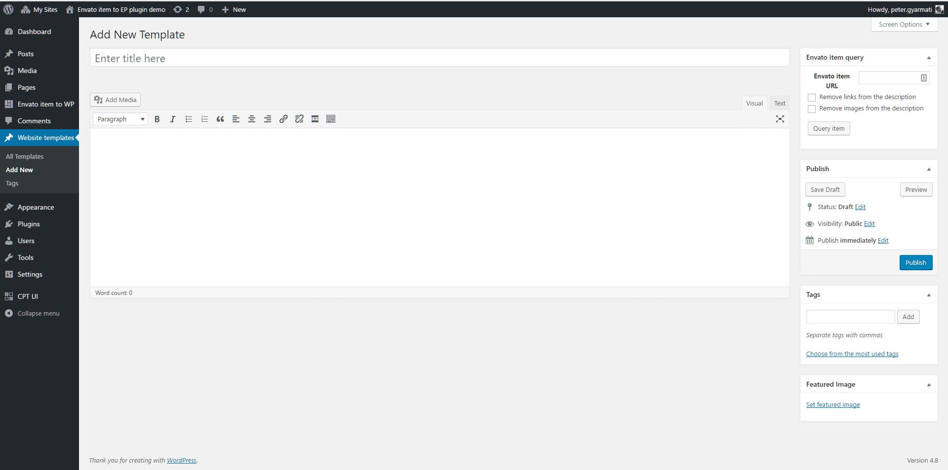 Add new envato item in custom post