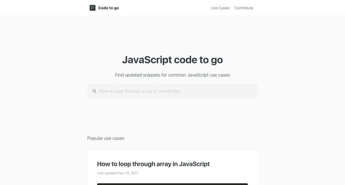 Code to go screenshot