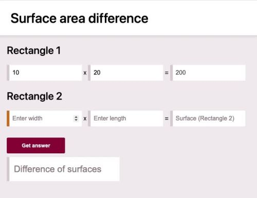 Surfaces difference