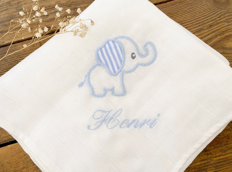 Personalised Embroidered Muslin Burping Cloth Light Blue Elephant