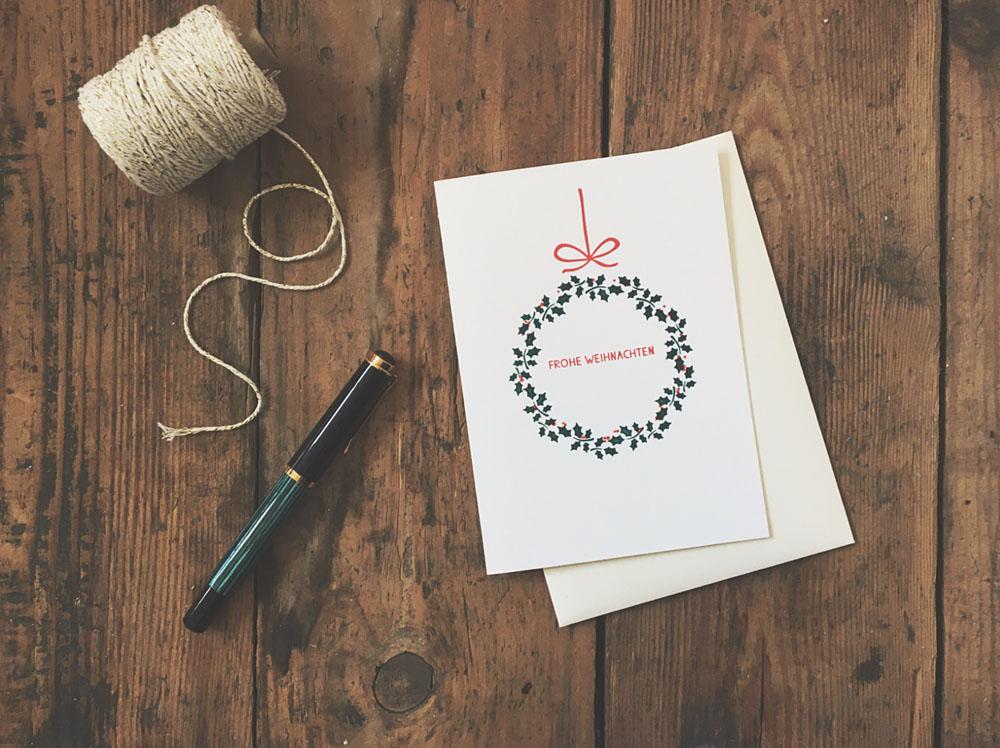Letterpress Weihnachtskarte mit Kranz
