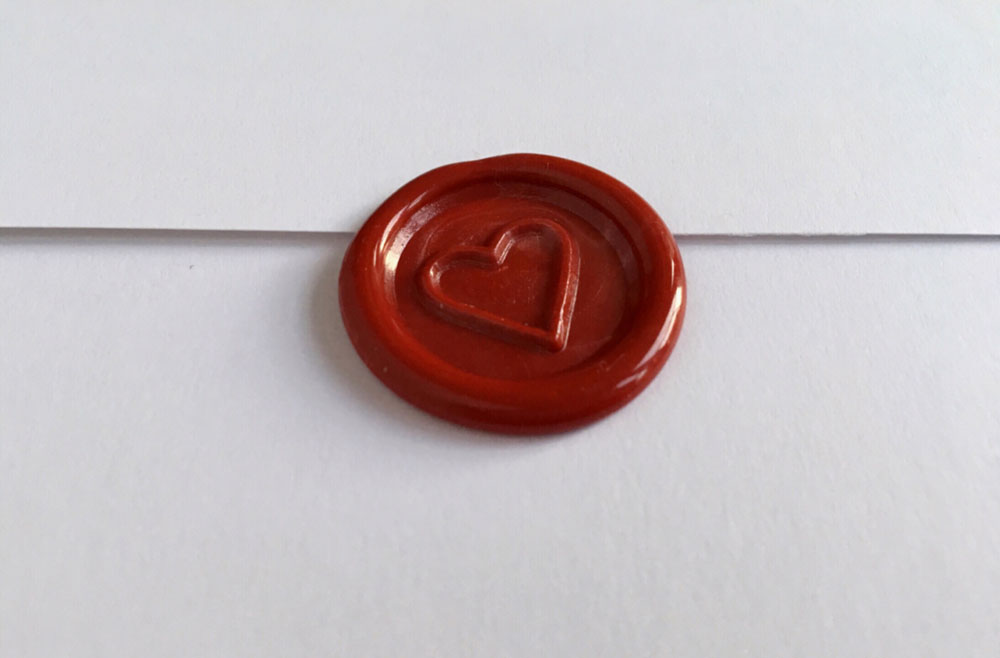 Handmade Red Heart Wax Seal Self-Adhesive