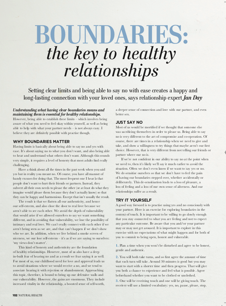 Jan Day featured in Natural Health, April 2018