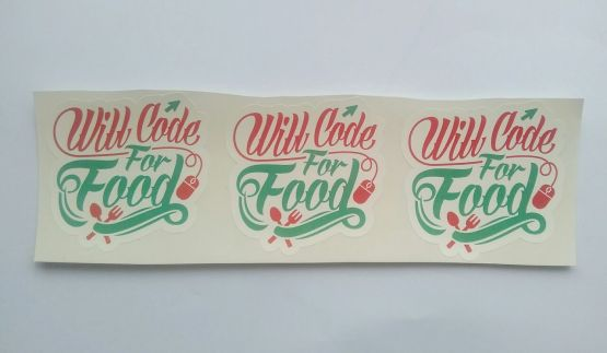 Stiker Code for food - Vinyl Cut 2