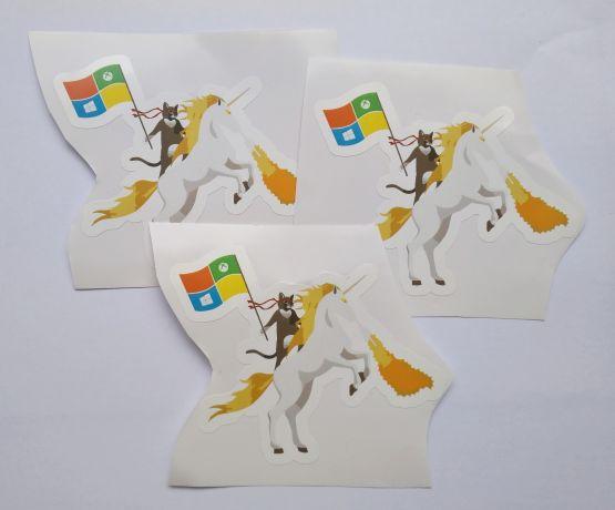 Stiker Ninja Cat on Unicorn - Vinyl 2