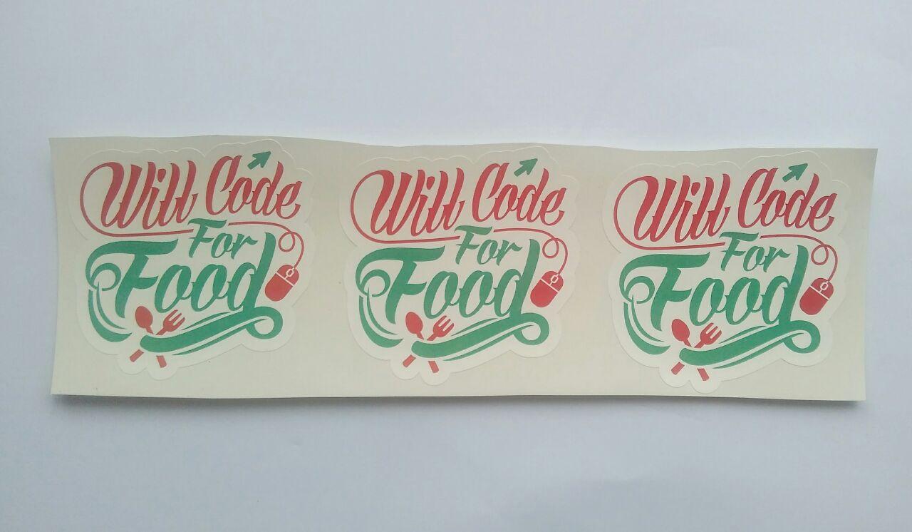 Stiker Code for food - Vinyl Cut 1