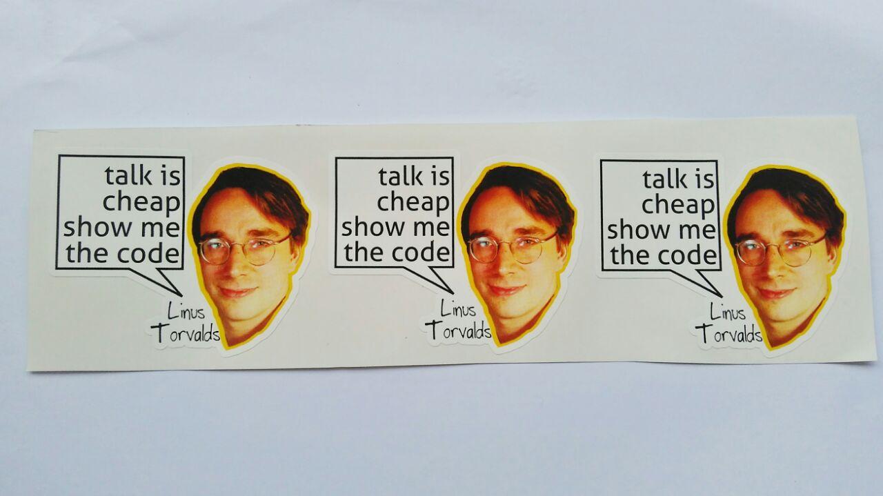 Stiker Linus Torvalds - Vinyl Cut 1