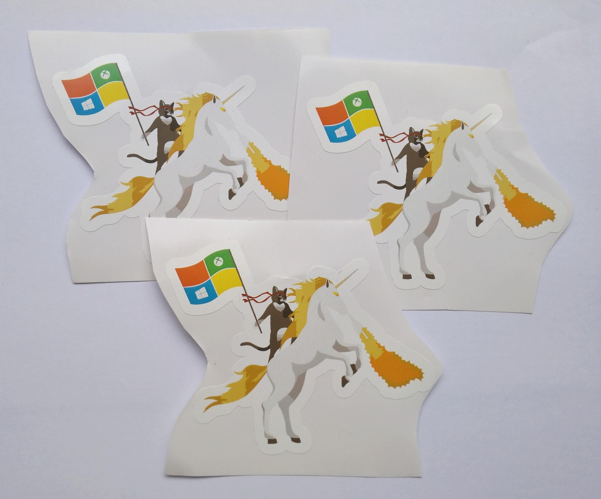 Stiker Ninja Cat on Unicorn - Vinyl 1