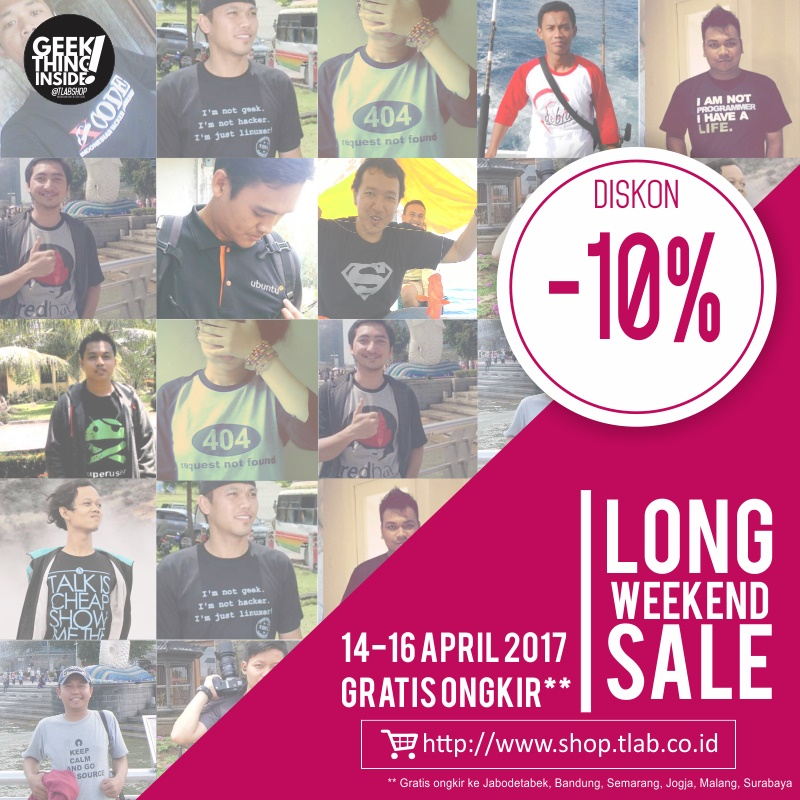 Diskon 10% untuk semua Kaos – April 2017