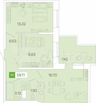 3-к квартира, 59 м², 4/16 эт.