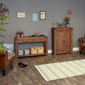 Shiro Walnut console table and shoe cupboard
