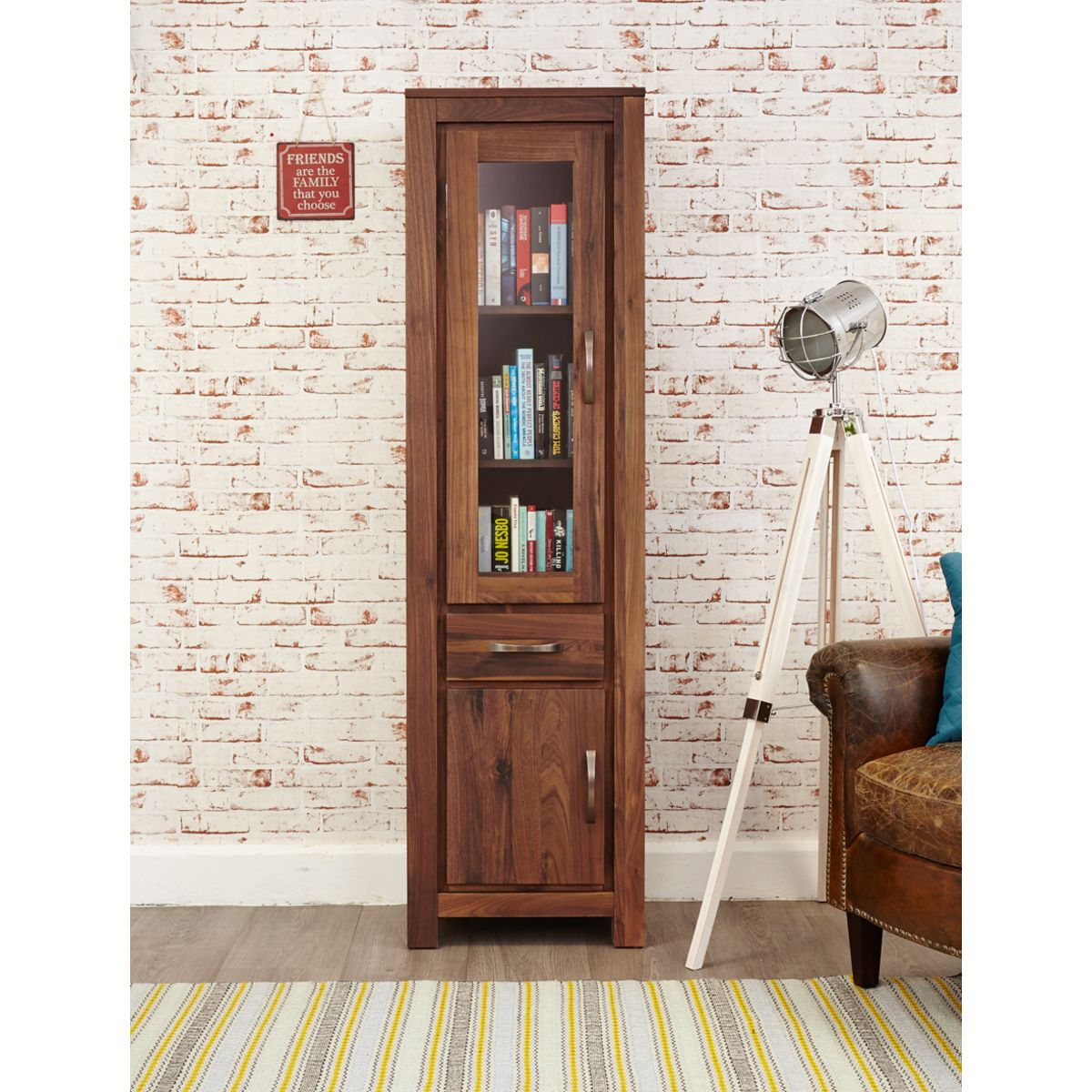 Mayan Walnut Narrow Glazed Bookcase Wooden Furniture Store