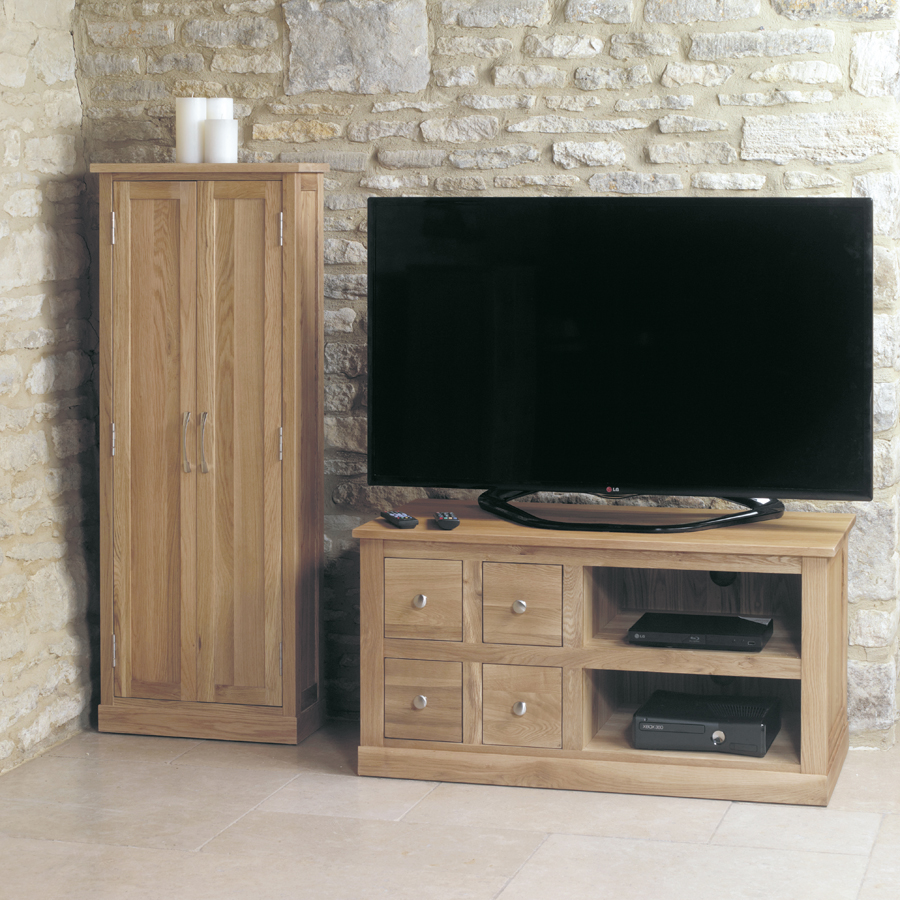 we love an organised tv unit the best selling mobel oak tv cabinet has four drawers with compartments sized perfectly for dvd s and cd s plus two shelves
