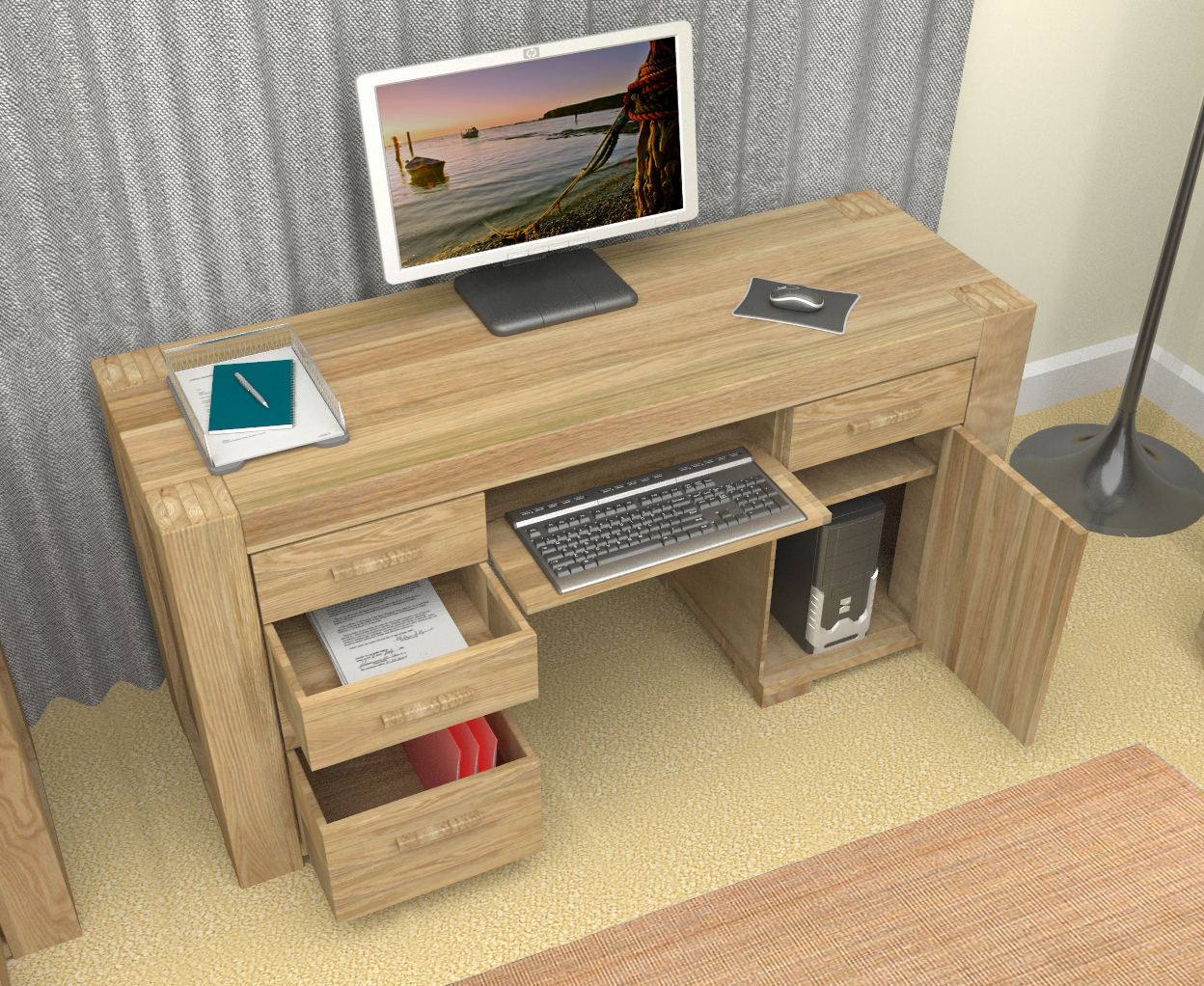 Home Office Furniture At Wooden Furniture Store: Featured Product - Atlas Oak Twin Pedestal Desk