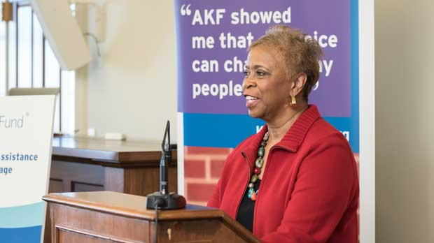 """LaVarne A. Burton, giving a speech"" Photo courtesy of American Kidney Fund"