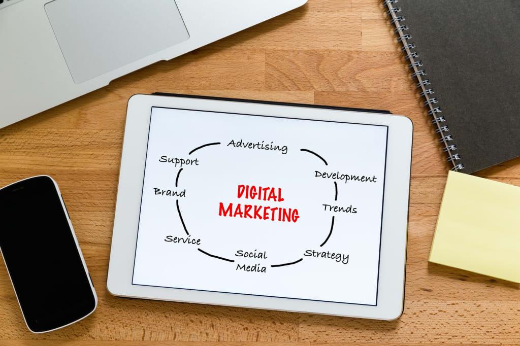 Working desk with digital tablet showing digital marketing concept