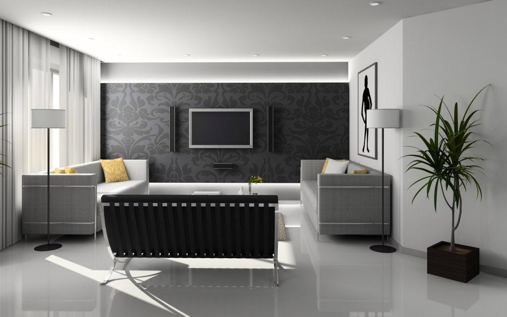 black wallpaper in living room