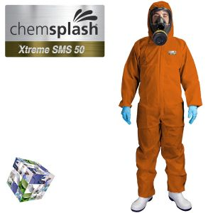 2544 chemsplash xtreme orange type 5 6 hooded coverall logo  2