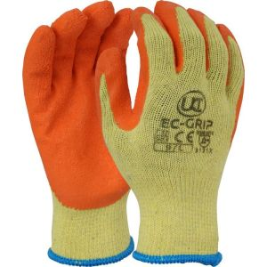 Ec grip orange latex glove