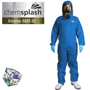 2544 chemsplash xtreme blue type 5 6 hooded coverall logo