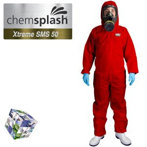 2544 chemsplash xtreme red type 5 6 hooded coverall logo  2