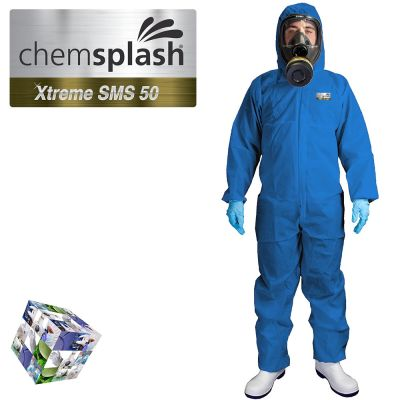 2544 chemsplash xtreme blue type 5 6 hooded coverall logo