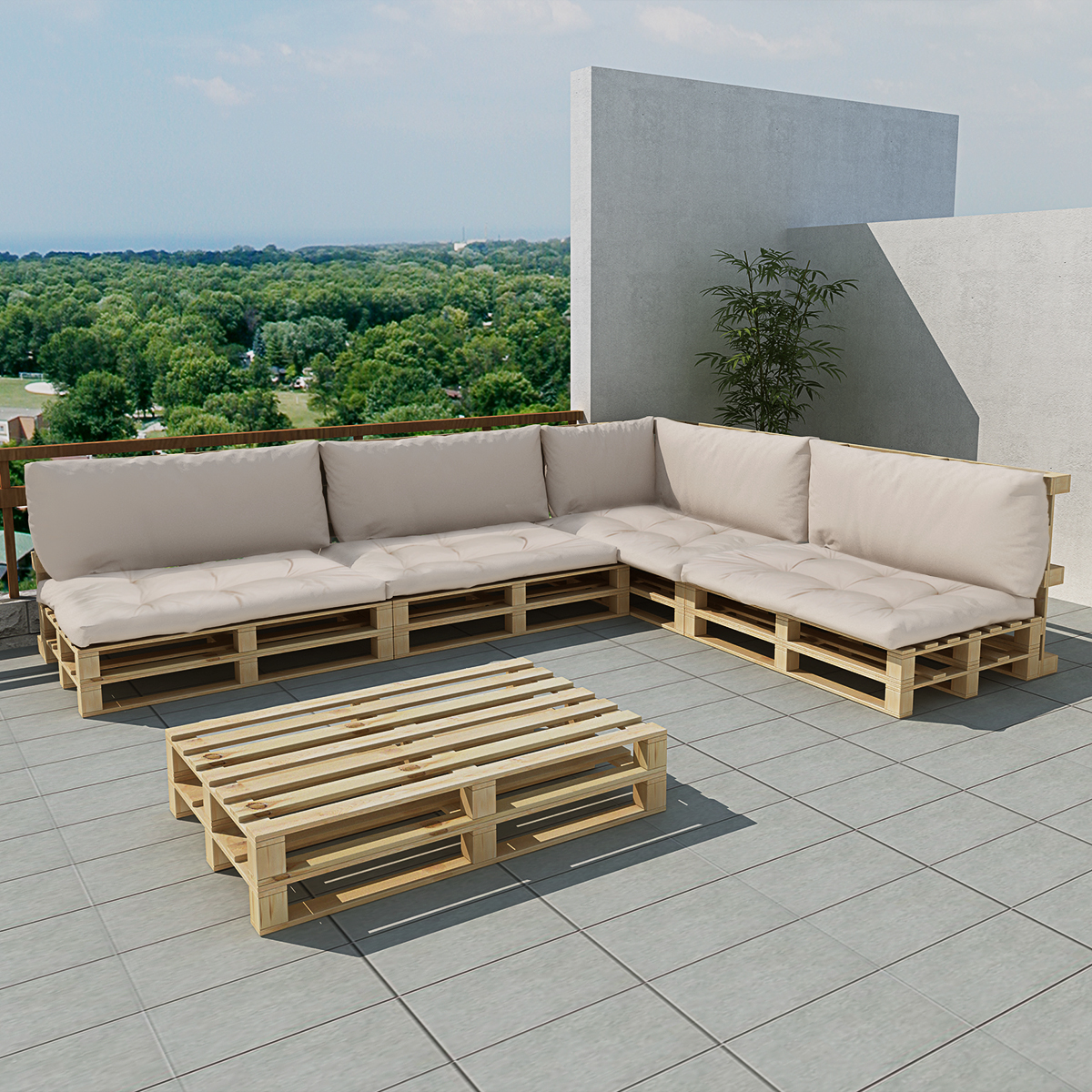271776 Vidaxl 15 Pcs Wooden Outdoor Pallet Lounge Set With 9 Cushions Sand White 41515 9 X 41680 5 X 41681 41682 Outdoor Seating Vidaxl