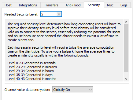 voice data encryption settings