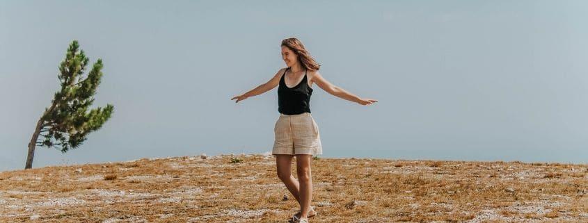 woman keeping the balance