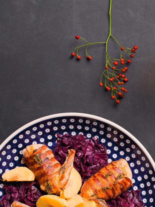 Deftige Küche: Perlhuhn mit Rotkraut und Quitten