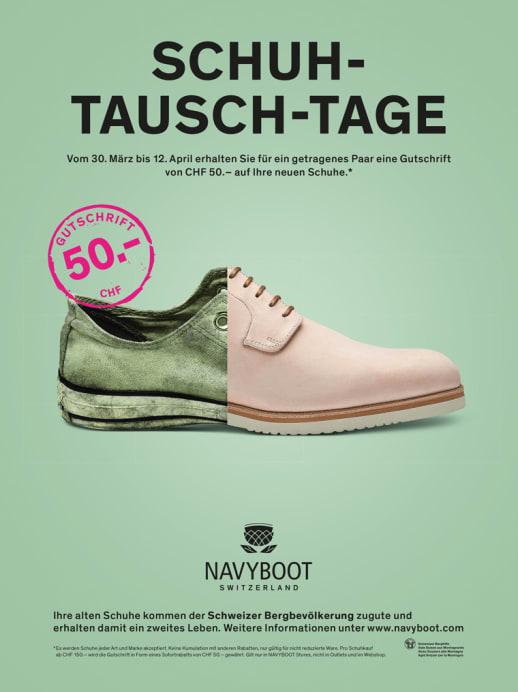 Alt gegen neu: Schuh-Tausch-Tage bei Navyboot