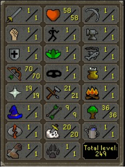 70 Ranged / 1 Attack / 1 Strength / 1 Defence