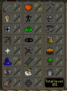 70 Magic / 1 Attack / 1 Strength / 1 Defence / 10 Hitpoints