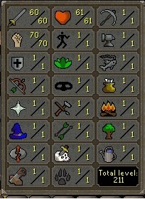 60 Attack / 70 Strength / 1 Defence / 61 Hitpoints