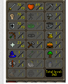 70 Attack/ 70 Strength / 70 Defence / 69HP / 43 Prayer