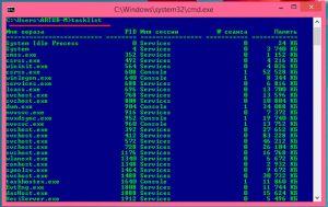 Команда tasklist в командной строке Windows 8
