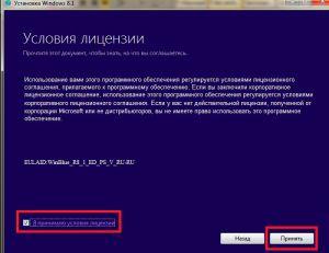 Принять условия лицензии для установки Windows 8