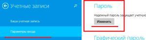 Изменение пароля учетной записи Windows 8
