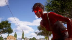 Skärmdump från State of Decay 2 som föreställer en rödögda, ilsken zombie.