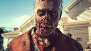Skärmdump från Dead Island 2 med en läbbig zombie.